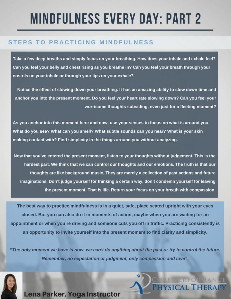 MINDFULNESS EVERY DAY: PART 2
